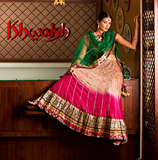 Crushed Pink Ghagra with a Green Net Dupatta