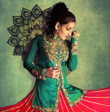 Gold Thread Work on a Green Silk Kurti with a Blood Red Skirt