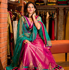 Pink Silk Ghagra with a Contrasting Turquoise Dupatta