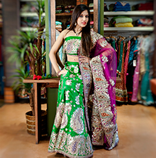 Green Ghagra with Silver Thread Work & a Contrast Hot Pink Dupatta