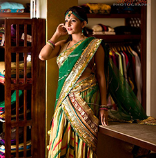 Crushed Yellow Leheria Bottom with a Green Net Dupatta