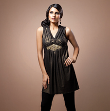 Gold Dusted Black Kurti with a Stone Studded Belt